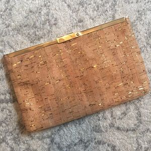 J. Crew Cork and Gold Clutch NWT